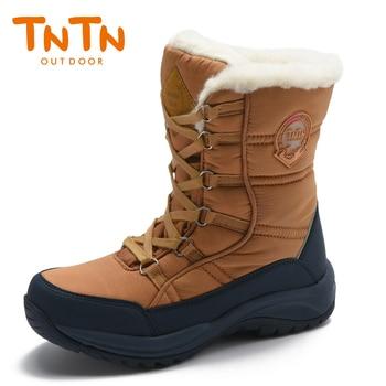 TNTN Outdoor Waterproof Snow Boots Men Women Hiking Trekking Shoes Winter Sports Sneakers Fleece Warm Non-Slip Walking