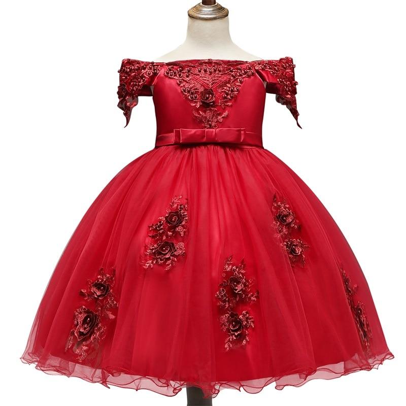 H79d22708490042e49234e5330e51b7a2w Girls Dress Elegant New Year Princess Children Party Dress Wedding Gown Kids Dresses for Girls Birthday Party Dress Vestido Wear