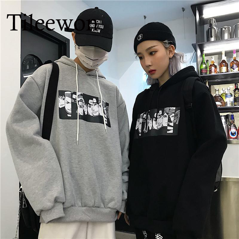 Harajuku Naruto Anime Printing Fashion Couple Casual Hoodies Men's  Clothes Loose Coat Sweatshirt Men Streetwear Hip Hop Unisex