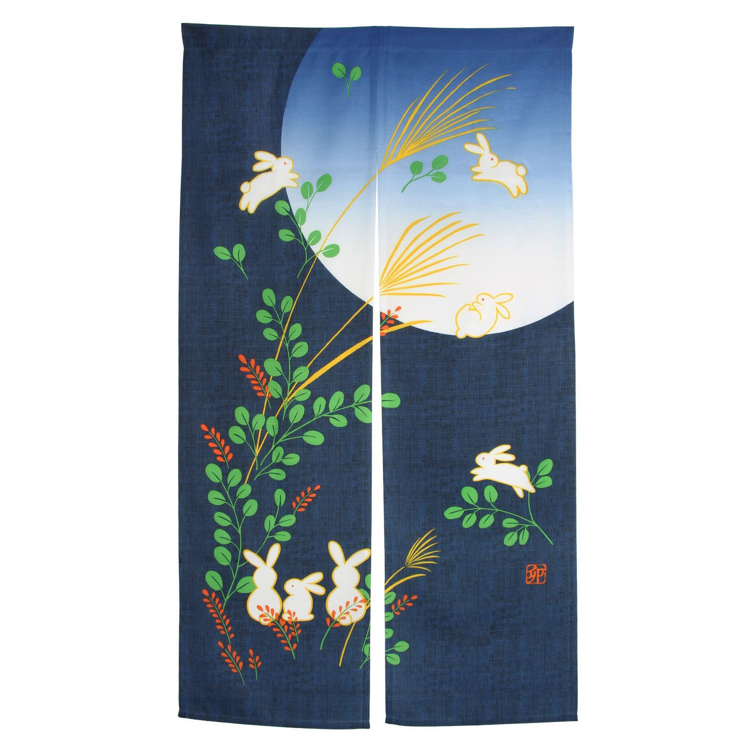 PHFU-Japanese Doorway Curtain Noren Rabbit Under Moon For Home Decoration 85X150Cm