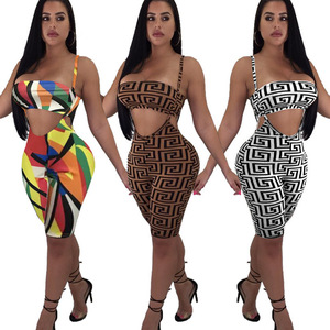 2020 New Women' Clothes Sexy Tank Top Geometric Print Chest Wrap Suspender Shorts Two Pieces Set For Beach Party