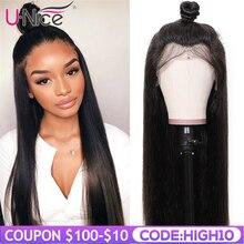Волосы UNICE 360 кружевные передние парики 180 плотность дешевые бразильские прямые парики с детскими волосами кружевные передние человеческие волосы парики предварительно выщипанные