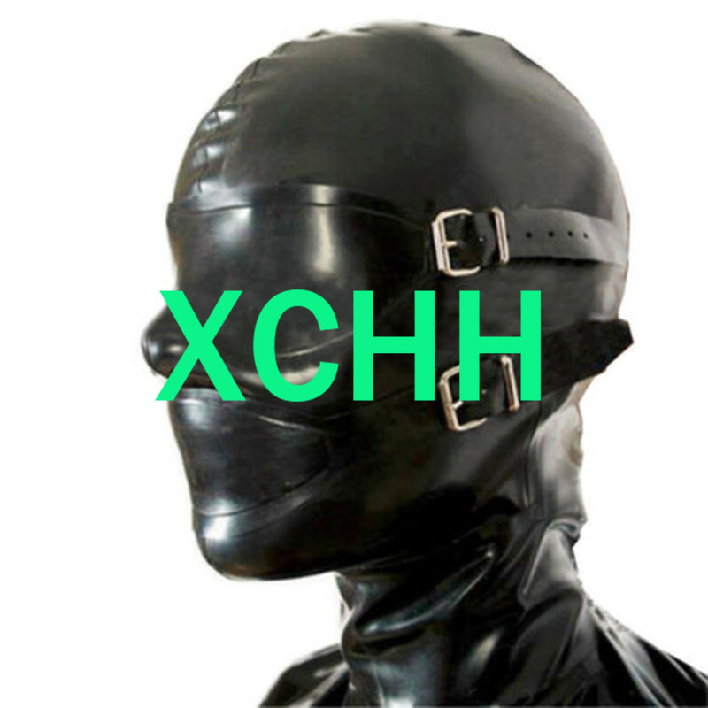 Pure 100% Natural Latex Woman mask hood with eye cover&mouth cover and gags cosplay costumes