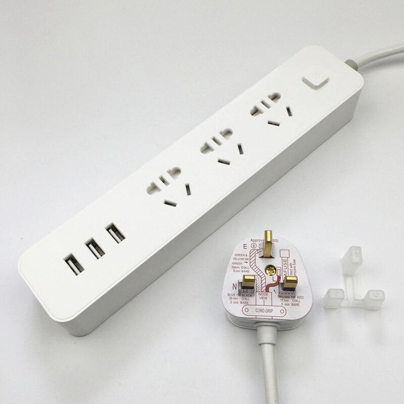 Régua de Energia inteligente de Carregamento Rápido 3 Plug3 Tomada de Extensão USB Padrão Adaptador de Tomada de 1.8M Cabo de Extensão USB Tomada REINO UNIDO plugue