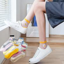Summer Women's Ultra-thin Fiberglass Silk Ankle Socks Fashion Daisy Flower Comfortable Transparent Breathable Cool Stockings