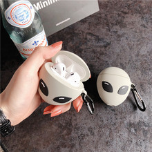 3D Earphone Case for Airpods 1 2 Case Silicone Luminous Cartoon Cute Alien Headphone Covers for Appl