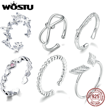 WOSTU Real 925 Sterling Silver Round Ring For Fashion Women Cute Fine Jewelry Finger Ring Adjustable Opening Silver Rings