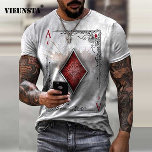 Retro Hand Poker Card Print T Shirt for Men New Spring Summer Short Sleeve Tee Shirts Casual O Neck Streetwear Tops Men Clothing