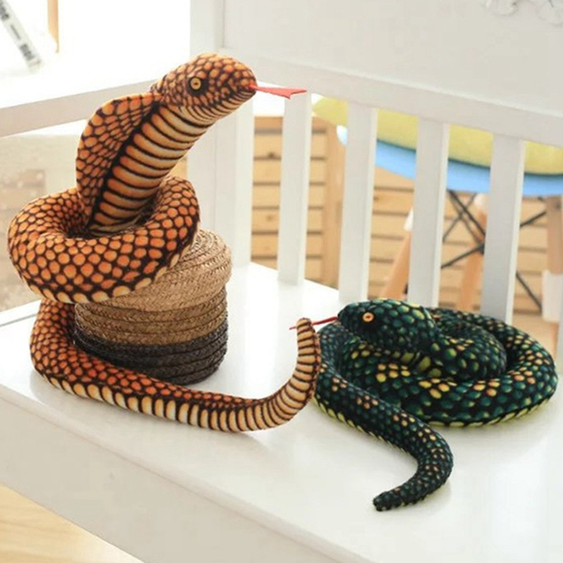 Plush Toys Dolls Simulation Cobra And Python Snake Soft Animal Stuffed Toy For Kids Children Funny Birthday Party Christmas Gift