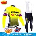 2019 Pro Team Jumbo велосипедная майка 9D комплект с нагрудником MTB Униформа велосипедная одежда мужская зимняя теплая флисовая велосипедная Одежда ...