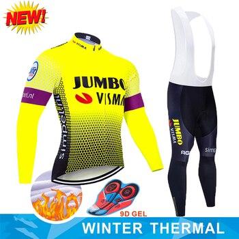 2019 Pro Team Jumbo koszulka rowerowa 9D zestaw śliniaczków MTB jednolita odzież rowerowa męskie zimowe termiczne polarowe ubrania do jazdy rowerem odzież rowerowa