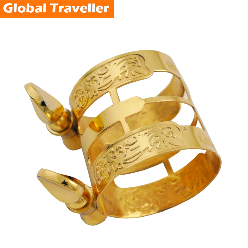 1 Piece Gold-plated/ Lacquered Gold General Alto/Tenor Saxophone & Clarinet Bakelite Mouthpiece Ligature Clip