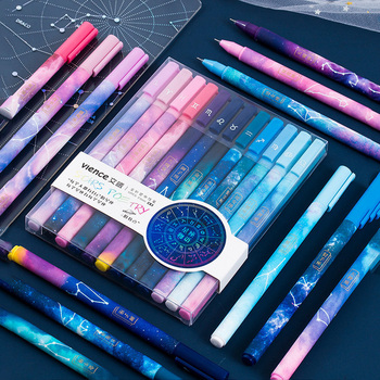 12pcs Constellation Gel Pen Set 0.5mm Starry Black Ink Pen for Girl Gift Stationery Office School Writing Supplies Kawaii Pen 3pcs beautiful star and moon gel pen set 0 5mm black color ink pens writing girl gift stationery office school supplies a6538