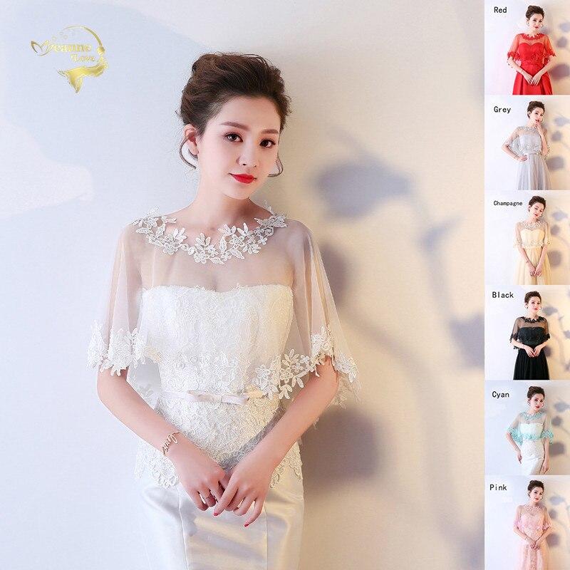 Fashion Red Bridal Wraps Lace Floral Women Bolero Short Wedding Jacket Wrap Shawls Tulle Bride Cape Cover Over The Shoulders