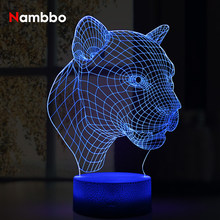 Leopard Head Three-dimensional Vision Night Light LED Home Decoration 7 Colors 3D Lamp Acrylic Table Lamp Cool Holiday Gift(China)