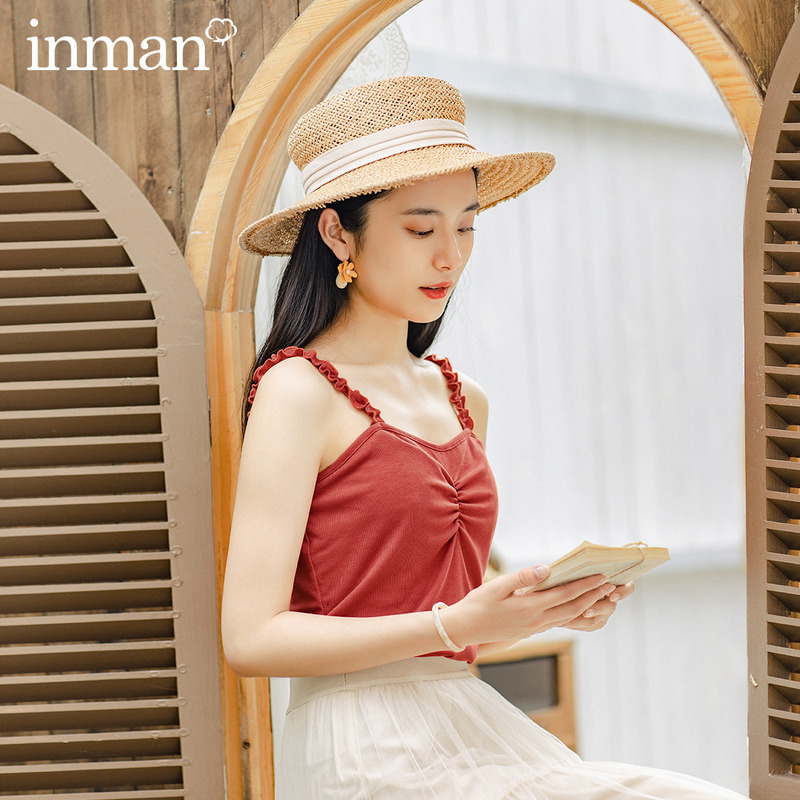 INAMN 2020 Summer New Arrival Retro Style Lace Fashion Cool Sleeveless Wear Outside Camisole