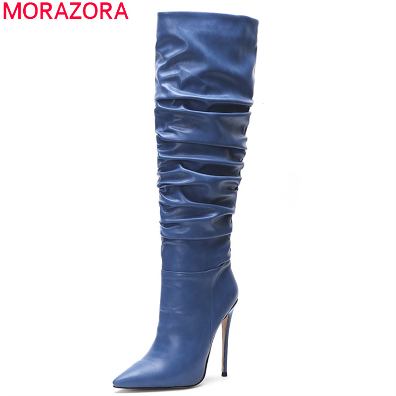 MORAZORA 2020 hot over the knee thigh high boots women solid colors autumn winter long boots thin high heels party shos woman