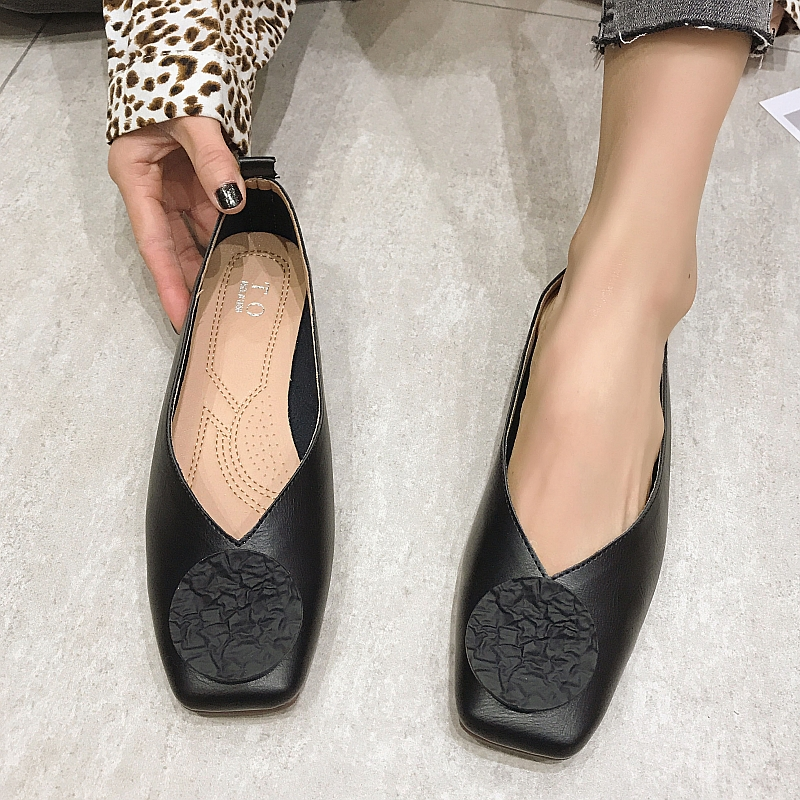 2020 Elegant Women Women's Ballet Flats Shoes Square Toe Shallow Spring Autumn Woman Casual Loafers Ladies Work Boat Shoes Black