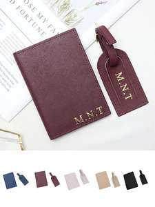 Luggage-Tag Passport-Cover-Set Monogrammed Travel Initial Accessorries Fashion Unisex