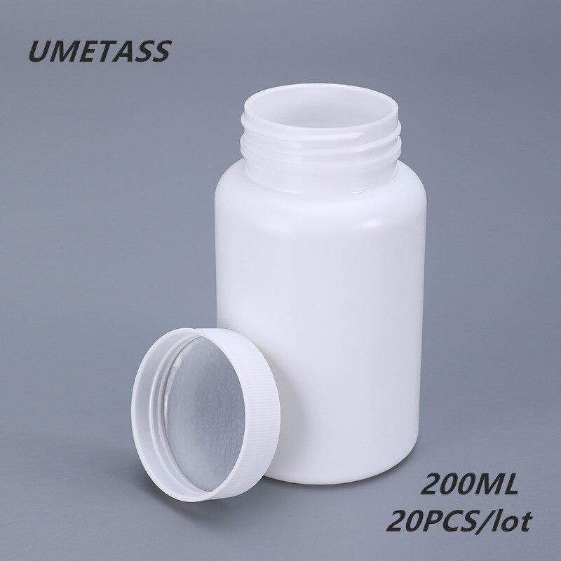 UMETASS 200ML Empty Plastic Bottle For Capsules HDPE Pharmaceutical Pill Bottles Medicine Vitamin Container 20PCS/lot