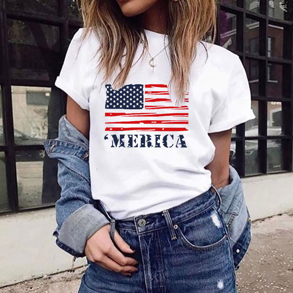 New Women T-shirts Casual USA Flag Printed Tops Tee Summer Female T Shirt Short Sleeve T Shirt