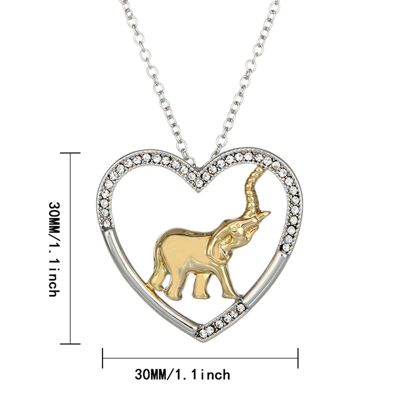 New Fashion Heart Shaped Necklace Gold Elephant Shape Two Color Necklace Banquet Decoration Party Gift Necklace in Pendant Necklaces from Jewelry Accessories