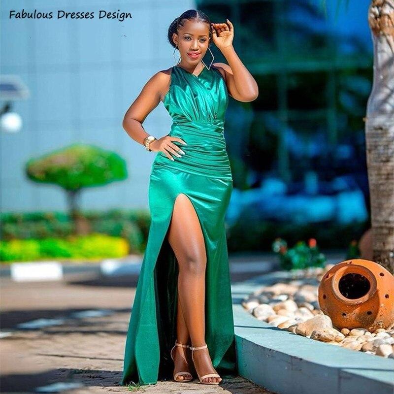 Side Split Mermaid Prom Dresses Green Sleeveless V-neck Pleat Robe De Soirée Backless Girls 2021 Long Wedding Party Dress