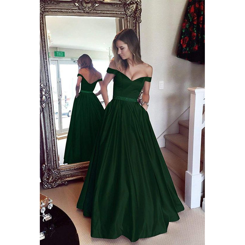 Angel Married 2020 A-line Off The Shoulder Floor-length Sleeveless Chiffon Party Dress Evening Dress