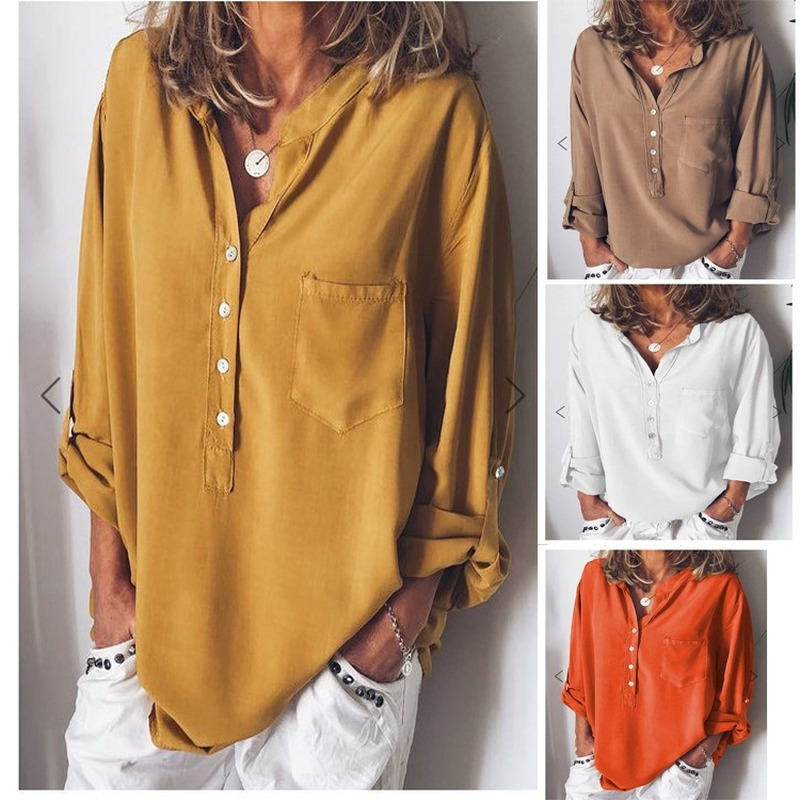 Women's Fashion in Spring and Autumn in Europe and America Blouses Shirts Women's long-sleeved loose V-neck shirt women tops