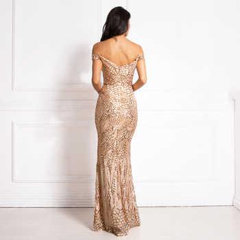 Elegant Party dress Sequin Maxi dress Slash Neck Off The Shoulder Slash Neck Gold Maxi Dress Floor Length Party Dresses - DISCOUNT ITEM  25% OFF All Category