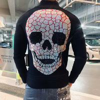 starbags pp Original high quality skull head perm men's reversible sweater business casual zipper knitted jacket casual wear