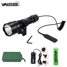 Waterproof Tactical Torch 5000 Lumen XML T6 LED Hunting Light+25 MM  Mount +Remote Pressure Switch+Battery+Charger 5000lm torch light xml t6 led military hunting flashlight 18650 battery remote pressure switch charger