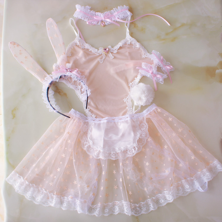 Sexy Cute Girls Women's Pink Bunny Maid Transparent Exotic Set Kawaii Cosplay Rabbit Ears Tail Necklace Apron Lingerie Babydoll