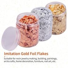 5g Per Color Imitation Gold Foil Flakes 3 Bottles Metallic Foil Flakes for Making Nails Art Painting DIY Crafts Home Decoration