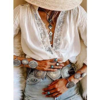 GypsyLady לבן חולצה חולצה תחרה מוכנס שיק boho חולצה רופף ארוך שרוול צווארון v נשי חולצה אלגנטית טוניקה למעלה 2019 blusas