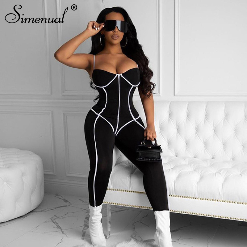 Simenual Workout Sporty Bodycon Rompers Womens Jumpsuit Strap Neon Striped 2020 Fashion Summer Casual Jumpsuits Skinny V Neck