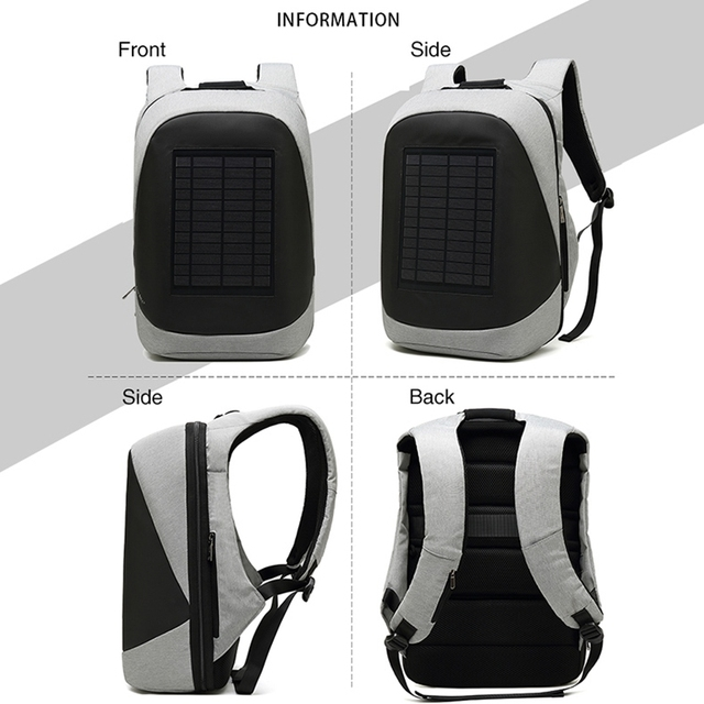 Multifunction Solar Energy Rechargeable Backpack Men Anti Thief Waterproof 15.6 inch USB Charging Laptop Backpack Travel Bags 3