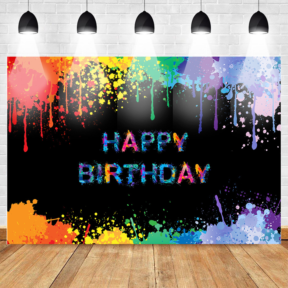 Glow Splatter Backdrop Birthday Background Colorful Graffiti Birthday Party Banner Decoration Neon Paint Photo Booth Backdrops Background Aliexpress