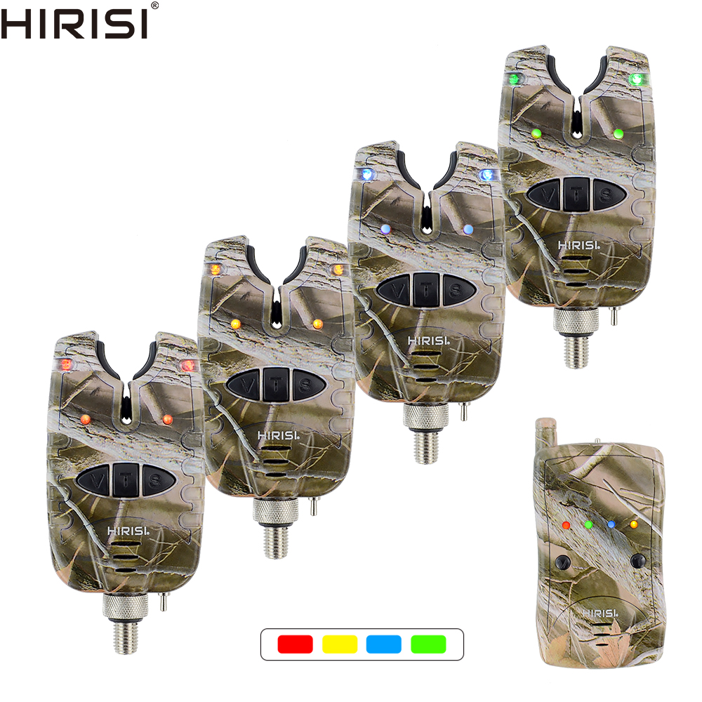 Carp Fishing Bite Alarm Set Waterproof 1+ 4 Camouflage Color Wireless Fishing Alarm B1208