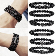 Fashion Crown Bracelet Men Black Stone Matte Onyx Beads Micro Pave Zircon Ball Couple Bangle Jewelry Pulseras