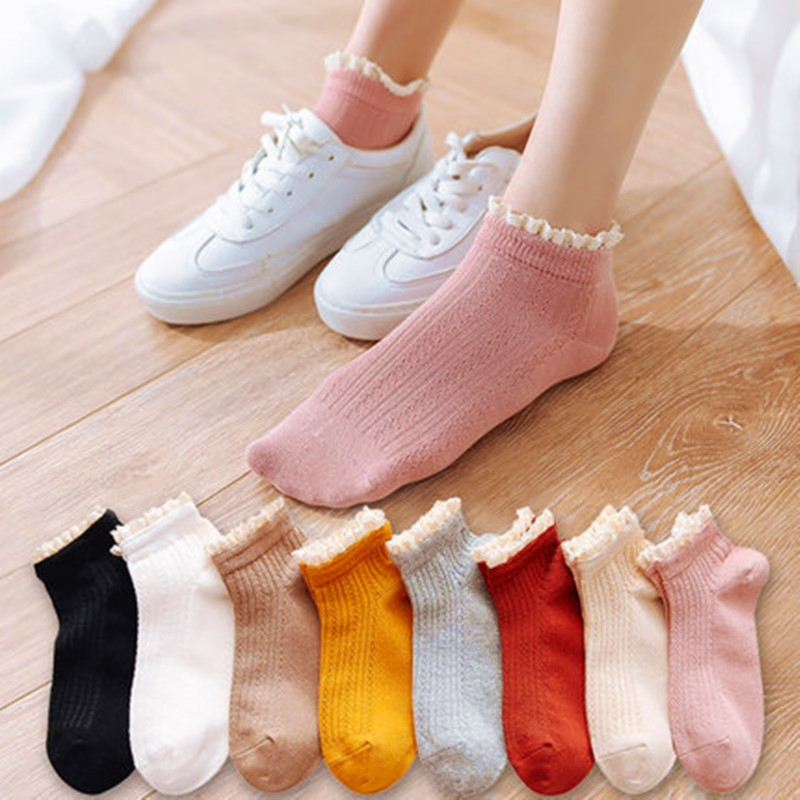 New High-grade Women Socks Fashion Lace Solid Color Socks Personality Harajuku Socks Art Cotton Short Funny Socks WT13
