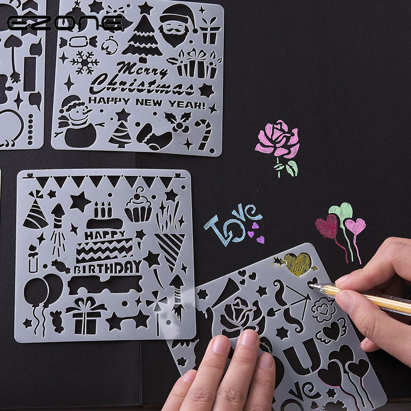 EZONE 5 uds regla de plantilla de dibujo DIY Plantilla de pintura alfabeto inglés/Navidad/globo/amor Graffiti Hollow Out plantilla