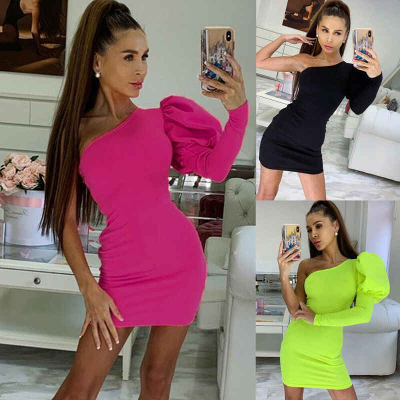Women Bodycon One Sleeve Long Puff Sleeve Dress Slim Off Shoulder Evening Party Club Short Mini Sundress