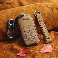 KEYYOU Genuine Leather Smart Remot Car Key Case Fob Cover For Volvo S60 S80 V60 XC60 XC70 S60L V40 remote case key accessories|Key Case for Car| |  -
