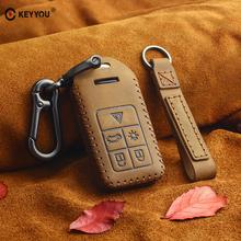 KEYYOU prawdziwej skóry inteligentny Remot samochodów klucz Case Fob pokrywa dla Volvo S60 S80 V60 XC60 XC70 S60L V40 pilot zdalnego przypadku kluczowe akcesoria tanie tanio Skóra