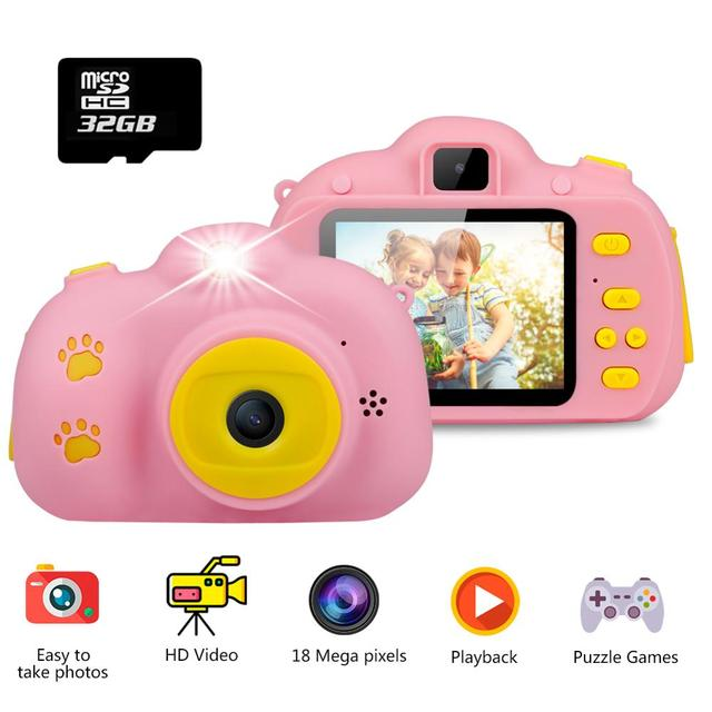 Children Mini Kids Camera Educational Toys for Children Baby Gifts Digital Camera 1080P HD Selfie Video Camera With 32G Card