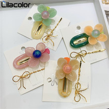 2 pcs/set Korea Flower Acrylic Hair Clips Bow Tie Hairpins Accessories for Women Girls