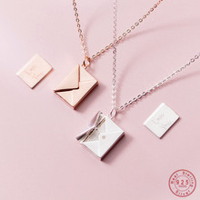 WANTME Genuine 925 Sterling Silver Jewelry Square Confession Love Letter Envelope Pendant Necklace Custom Lettering On The Back