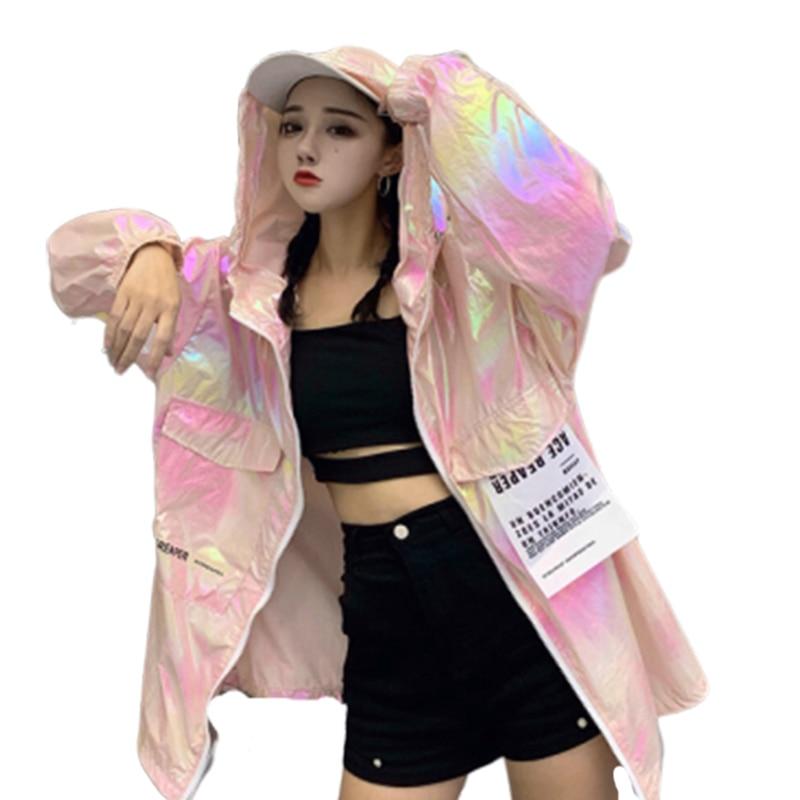 2019 Loose Coat Harajuku Riverdale Windbreaker Jackets Autumn Holographic Tunic Basic Women Jacket Sunscreen Clothes