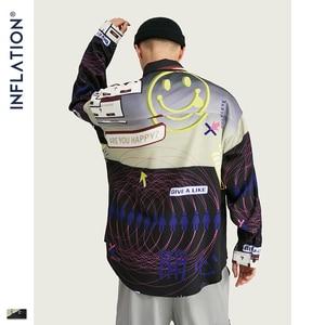 Image 1 - אינפלציה 2020 FW Oversize גברים חולצה Streetwear 2020 סתיו מצחיק דיגיטלי הדפסה ארוך שרוול גברים חולצה Harajuku גברים חולצה 92155W